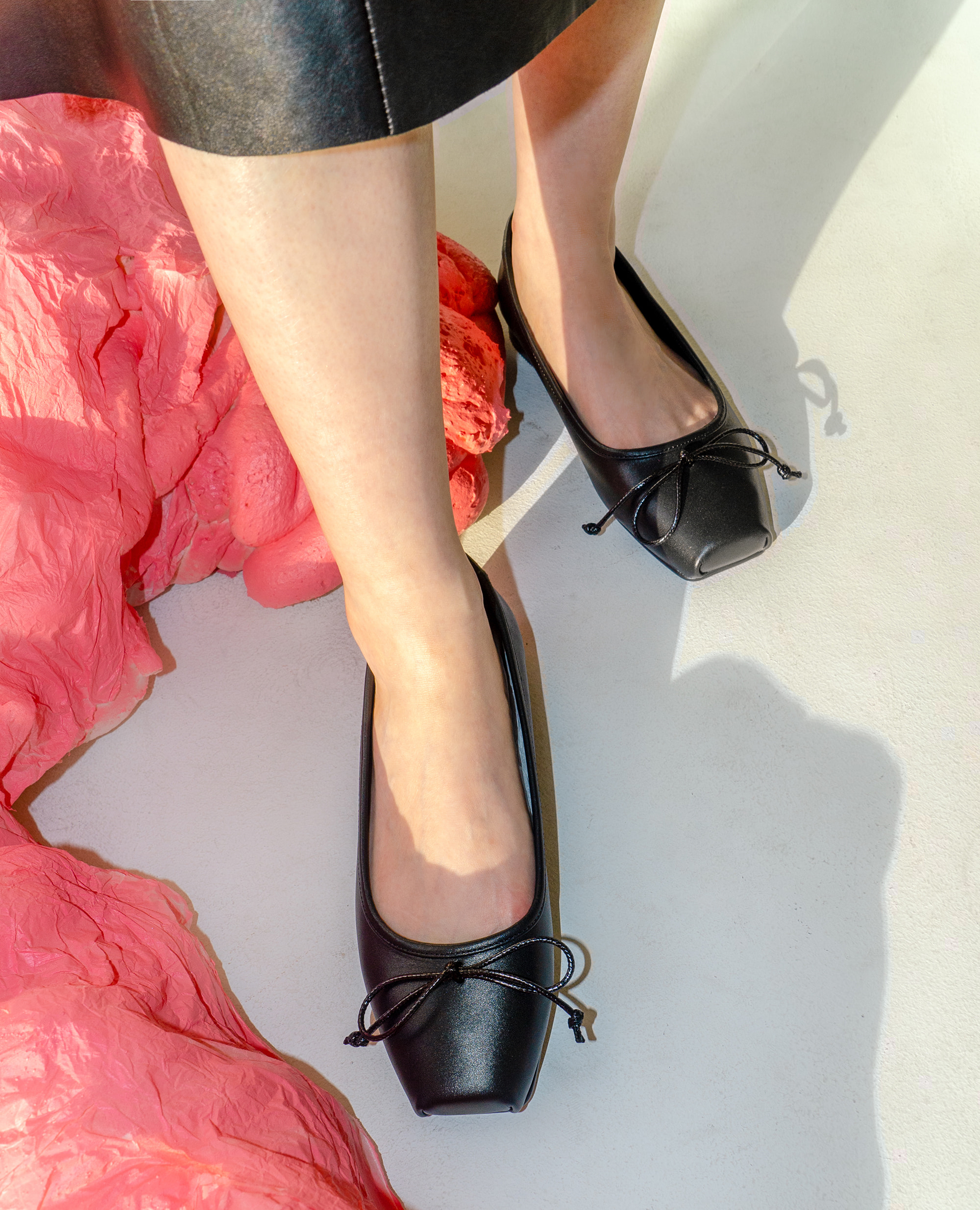 Ballet Toe Ribbon Flats | Black