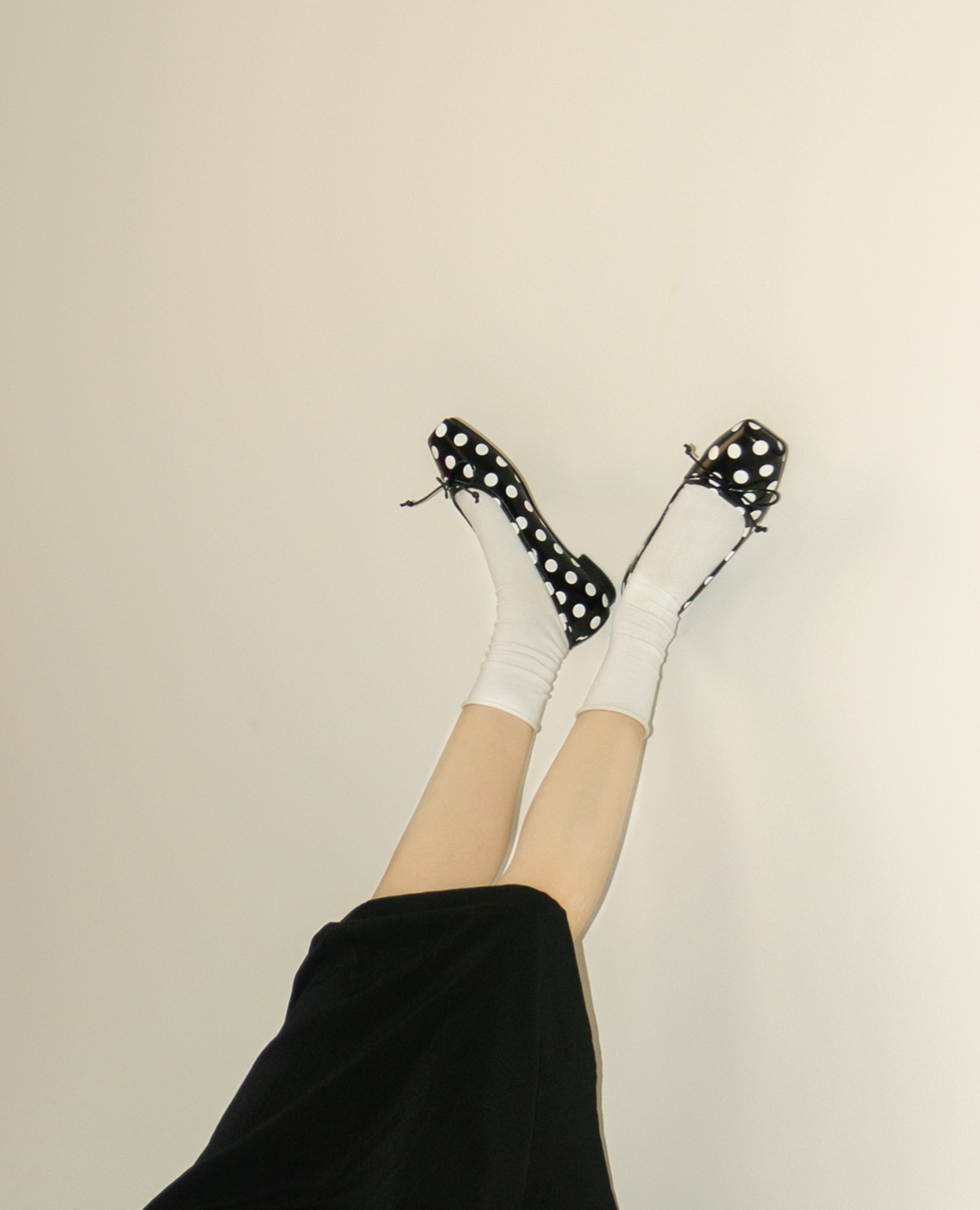 Ballet Toe Ribbon Flats | Polka dot