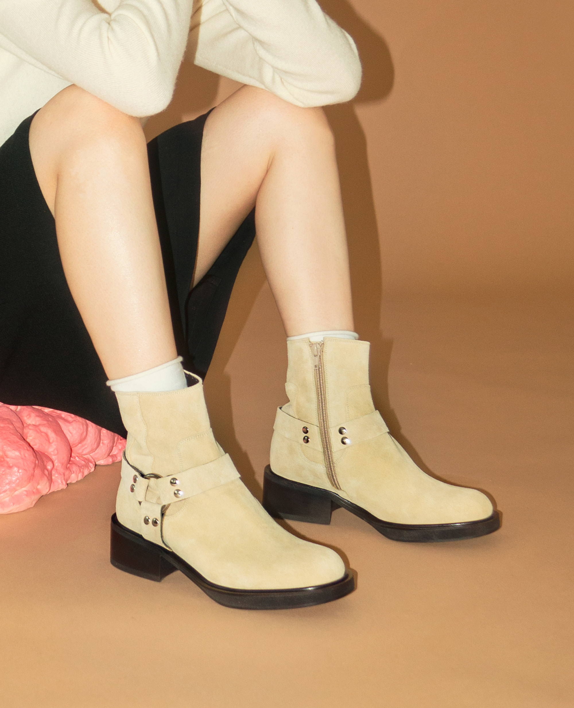 Almond Toe Harness Boots | Deep beige
