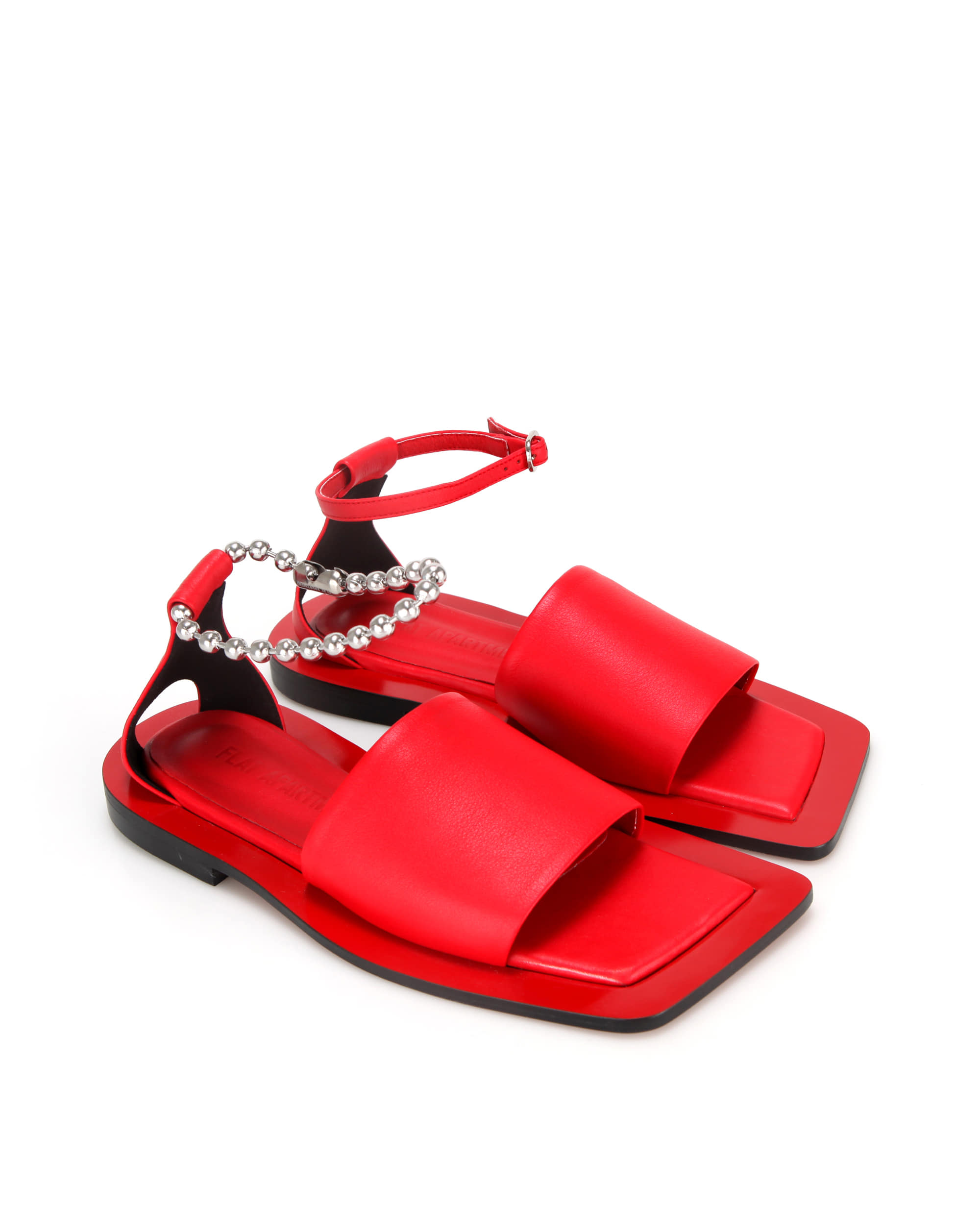 Wide square sole slide sandals | Red