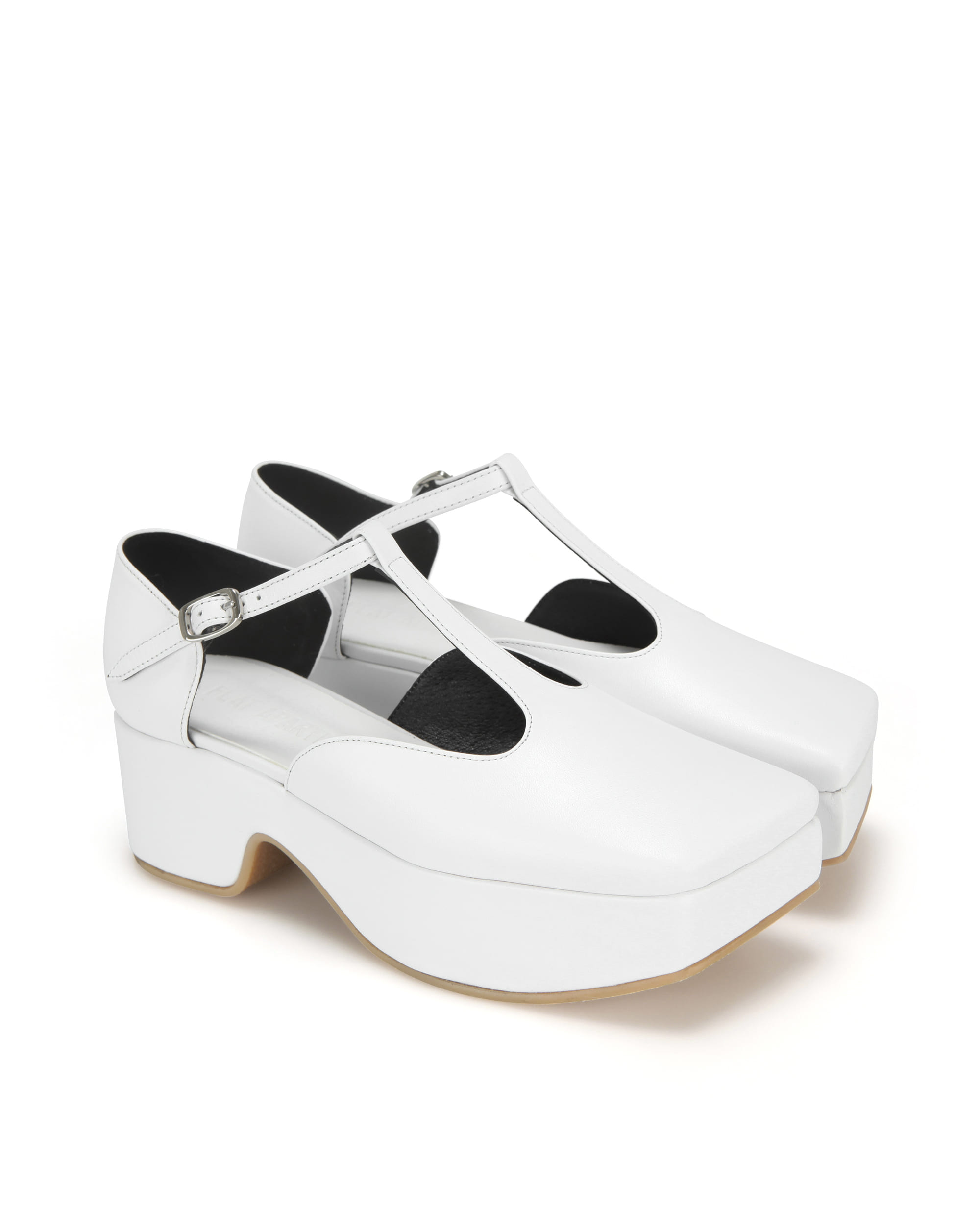 Squared toe T-strap mary jane platforms | White