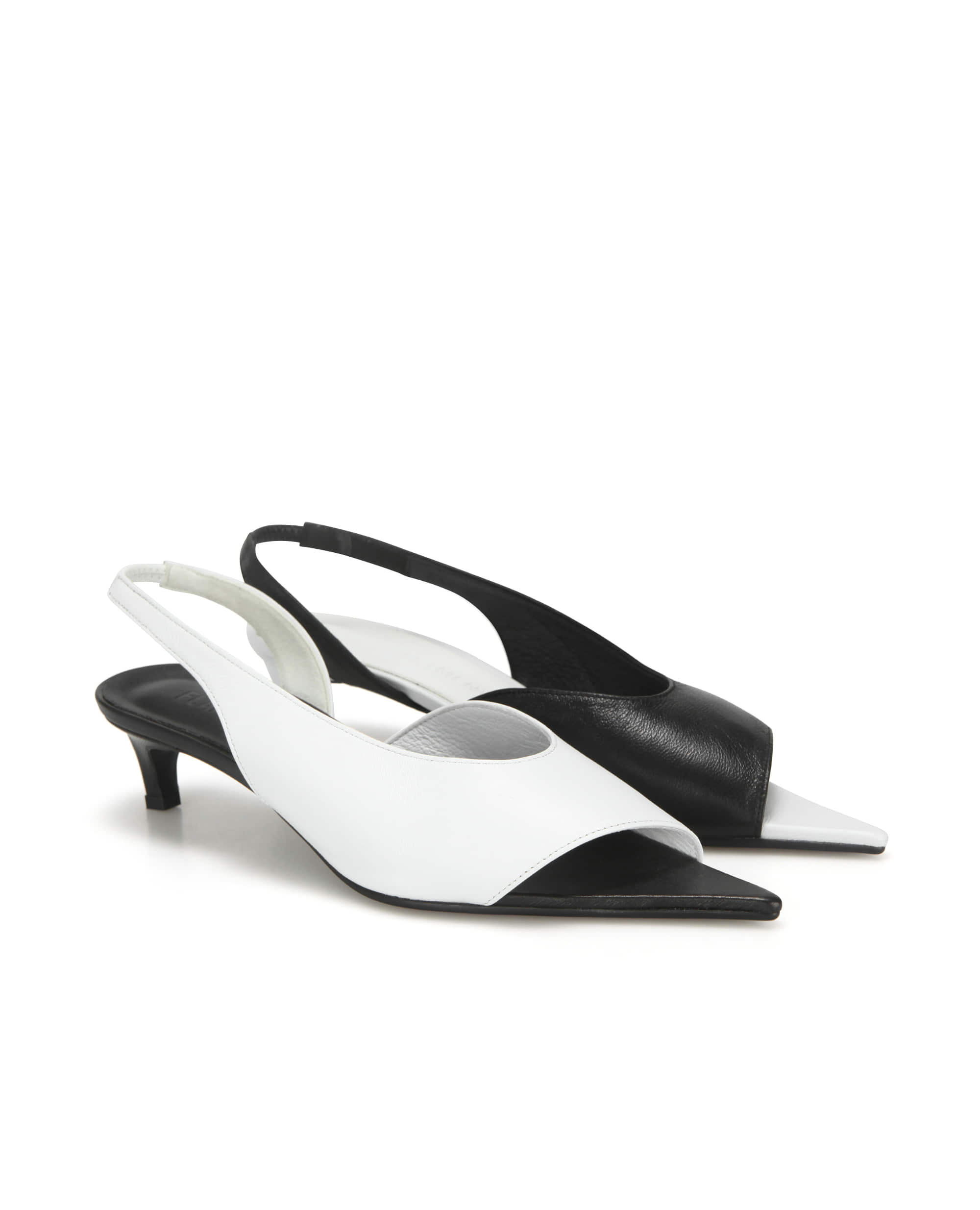 Extreme sharp toe diagonal lined slingbacks | White/Black