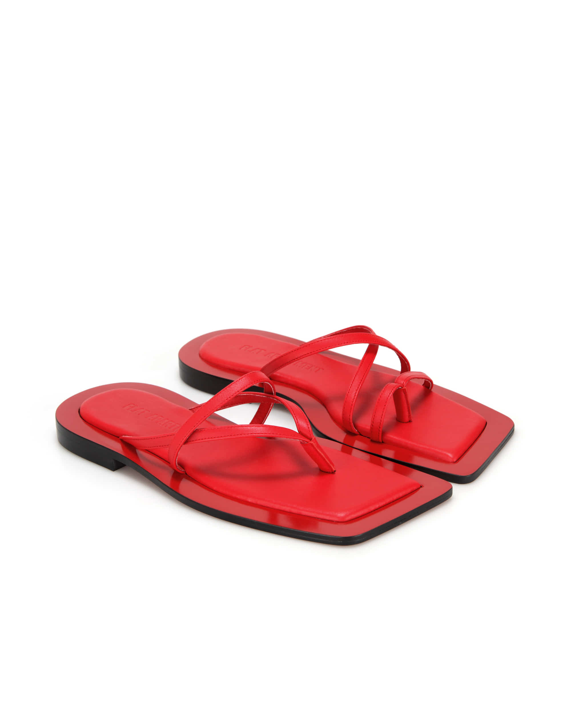 Wide square sole sandals | Red