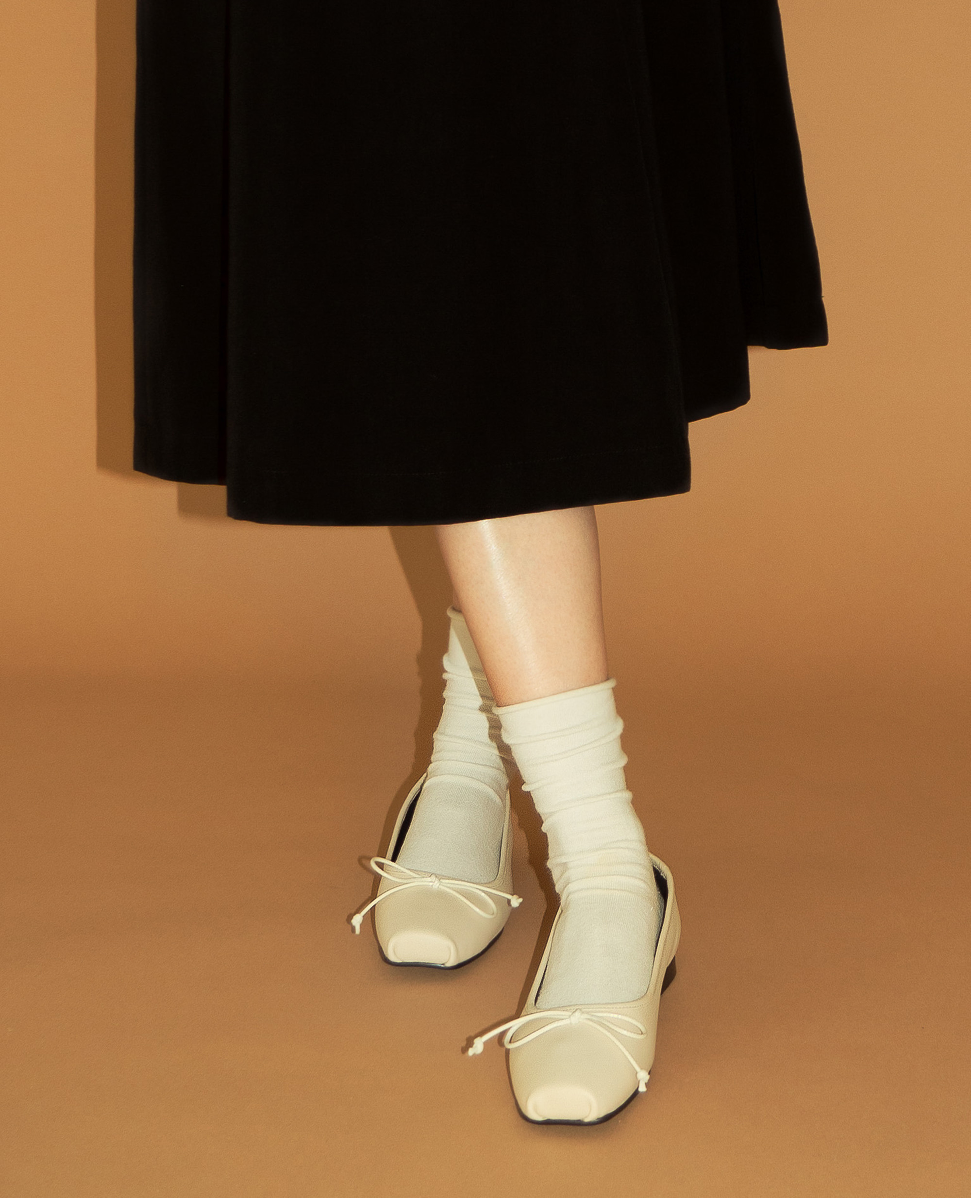 Ballet Toe Ribbon Flats | Light beige