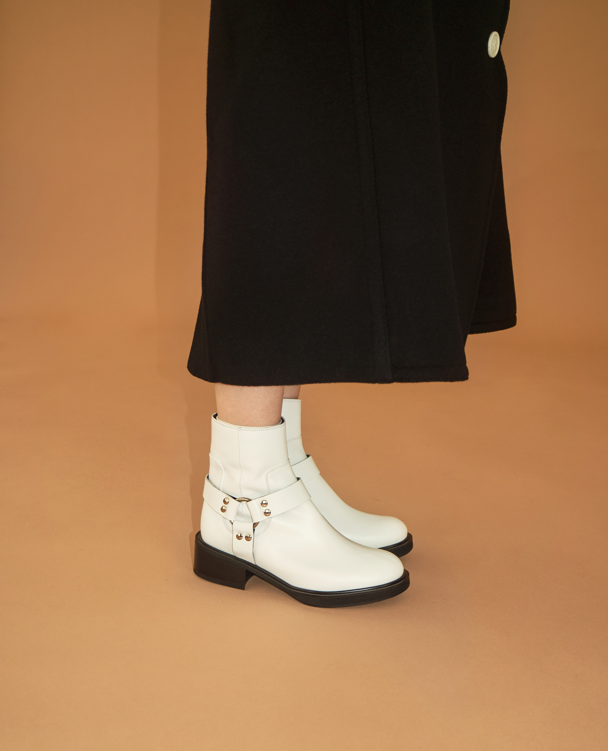 Almond Toe Harness Boots | White