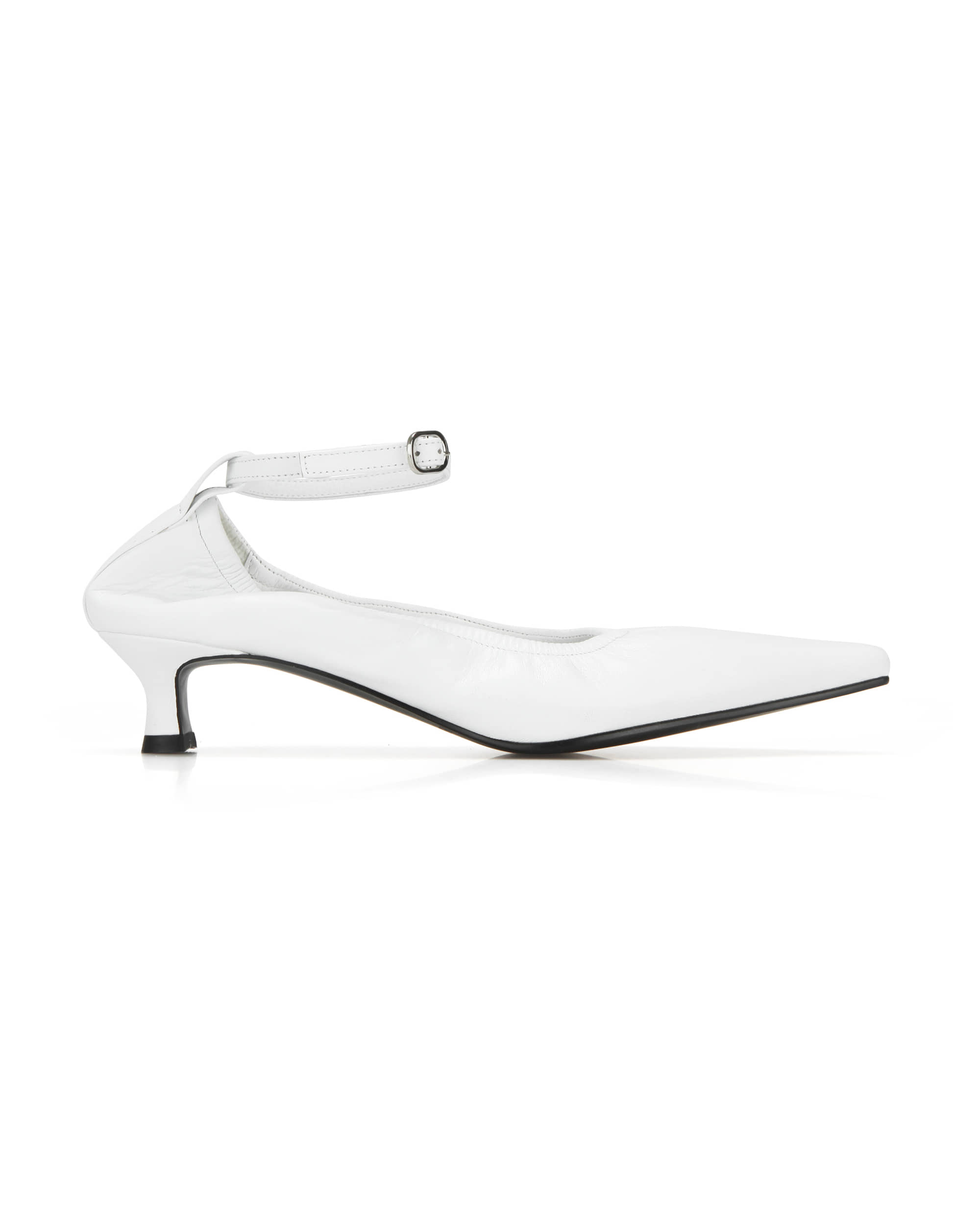 Extreme sharp toe ballerina with ankle straps (+ball chain) | White