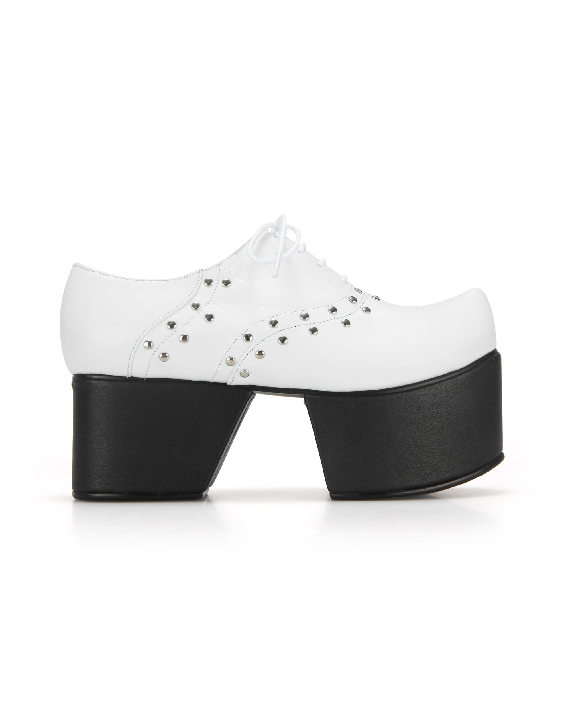 Pointed Toe Derby with Separated Platforms | White/Black