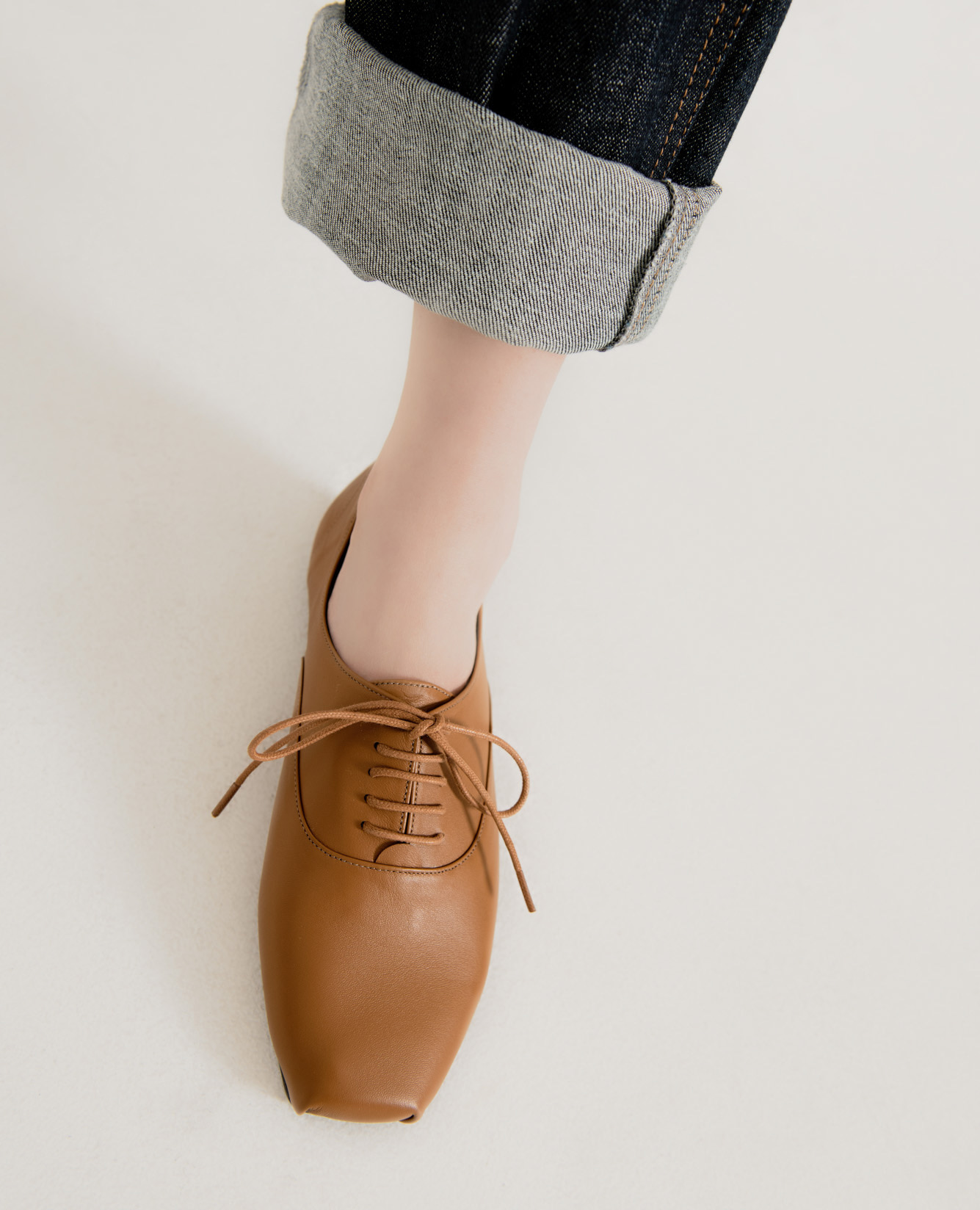 Ballet Toe Oxford Flats | Brown